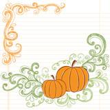 Halloween Pumpkins Sketchy Notebook Doodles poster