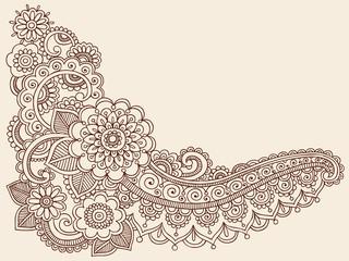Flowers Henna Tattoo Doodle Vector Illustration