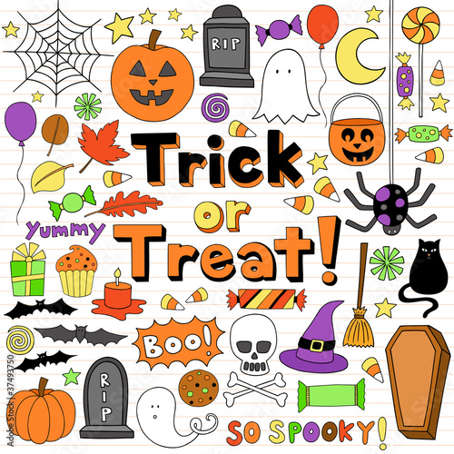 Trick or Treat Halloween Notebook Doodles Set