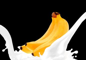 Splashing milk with banana