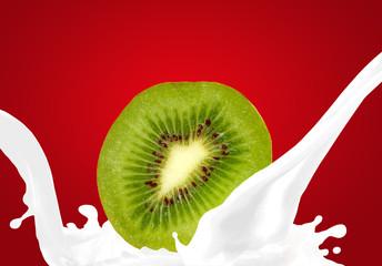 Splashing milk with kiwi
