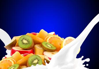 Splashing milk with fruit mix
