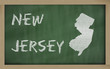 outline map of new jersey on blackboard