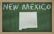 outline map of new mexico on blackboard