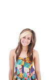 portrait of attractive smile teenage girl with white teeth, brow poster