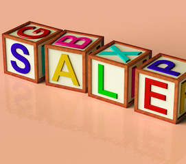 Blocks Spelling Sale As Symbol for Discounts And Promotions
