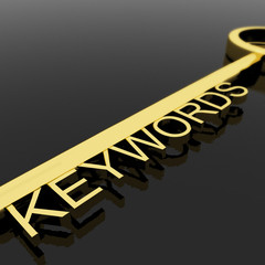 Key With Keywords Text As Symbol For SEO Or Optimization