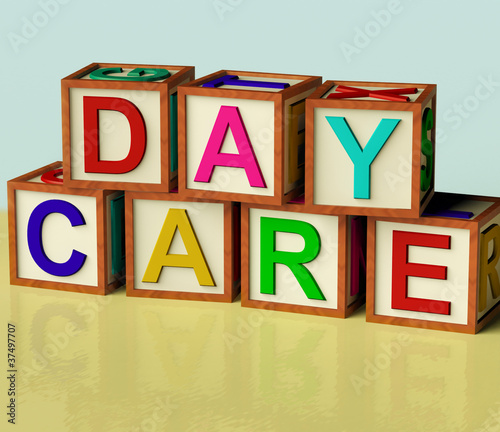 Kids Blocks Spelling Day Care As Symbol for Preschool and Kinder