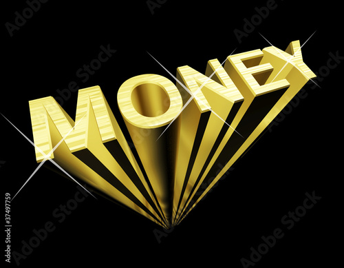Money Text In Gold And 3d As Symbol For Wealth And Finance