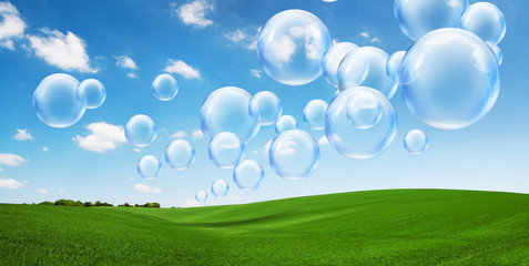 bubbles floating in fresh air