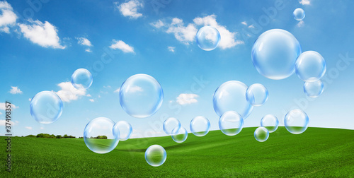 bubbles over green field