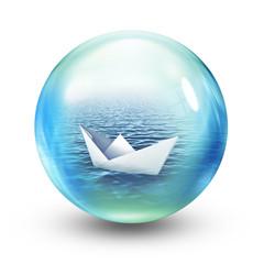 paper boat in sphere