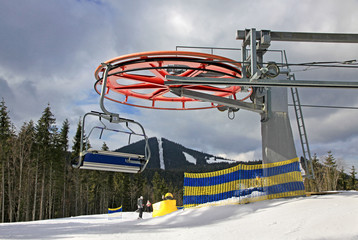 Ropeway on a top of the mountain of Bukovel ski resort, Ukraine
