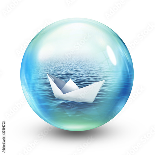 paper boat in sphere