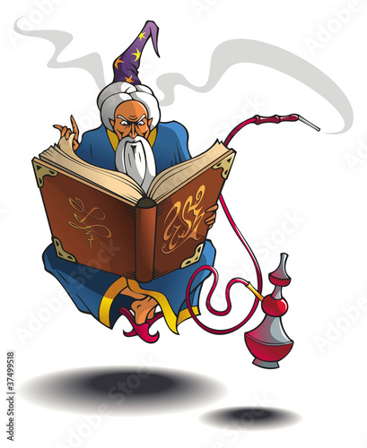 Arabian wizard levitating with magic book and hookah
