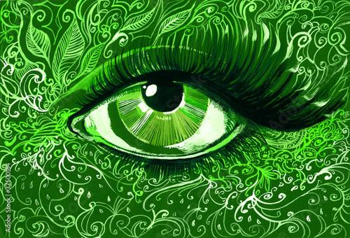 In de dag Vrouw Gezicht green eye