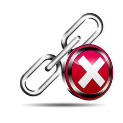 Icono enlace 3D con señal error