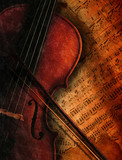 Fototapety Geige auf Notenblatt