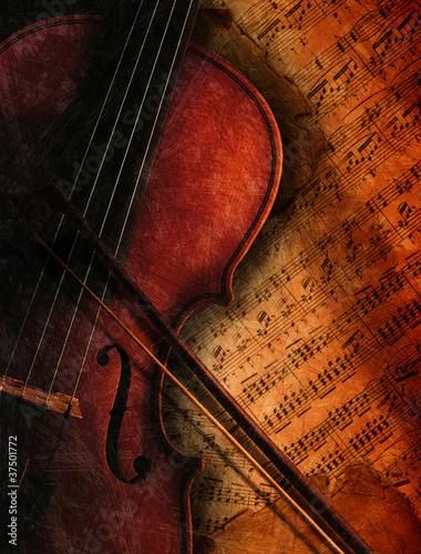 Geige auf Notenblatt - 37501772