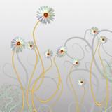 abstrakte Blumenkomposition auf grauem Hintergrund