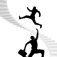 man run for dear life up stairs to success.