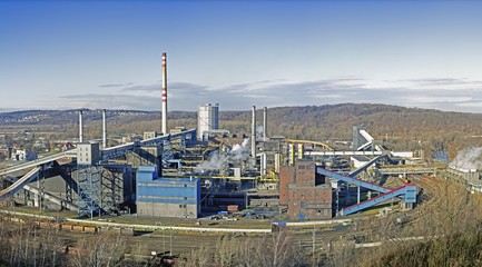 Industrial Panorama Showing a Smoking Factory in Czech Republic