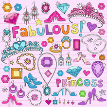 Notebook princesse Illustration Vecteur Doodles