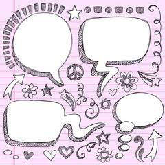 Speech Bubble Frames Sketchy Notebook Doodles Vector