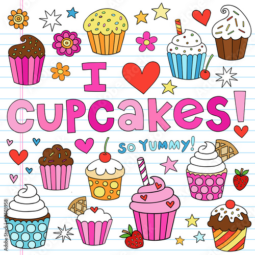 Sticker Birthday Cupcakes Party Doodles Vector Set