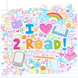I Love to Read Sketchy Notebook School Doodle poster