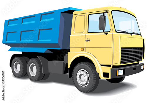 Vector isolated yellow dump truck without gradients