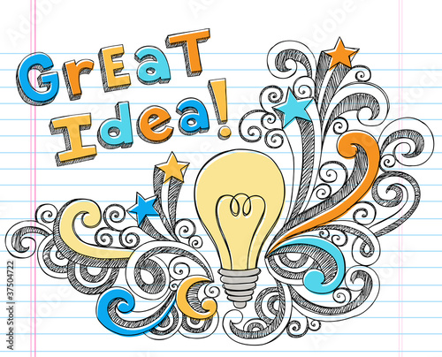 Great Idea Lightbulb Doodle Vector Design Elements