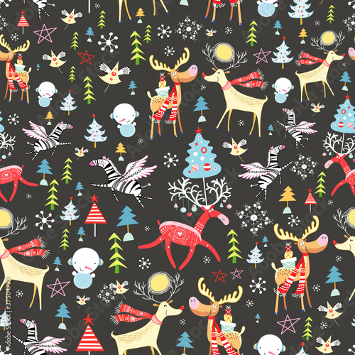 Cotton fabric New Year's texture with deer