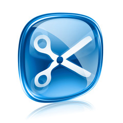 scissors icon blue glass, isolated on white background.