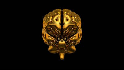 3D Gold Brain 360° Video auf Schwarz