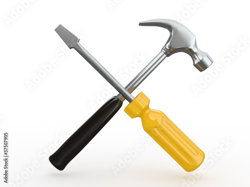Utility. Tools, screwdriver and hammer.