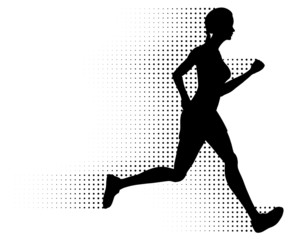 Vector Running Woman Silhouette & Halftone Trail. No Gradients.