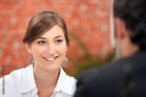 Woman smiling at her date
