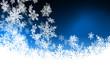 blauer Hintergrund, abstrakt, Flocken, Schnee, Kristalle, Winter