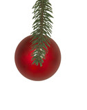 red Christmas ornament top view hanging from branch