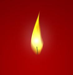 Kerzenflamme vor rot