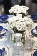 Flowers on blue and white dining table