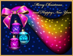 festive balls with bow amongst stars