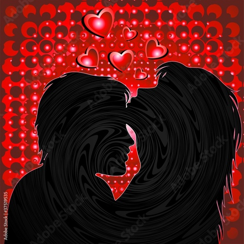 Coppia Amanti Sfondo Rosso-Lovers Red Background-Vector