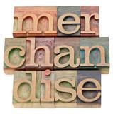 merchandise word in letterpress type poster