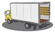 Colored open delivery truck drawing
