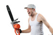 Expressive man with electric saw on white background