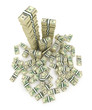 Big pile of the money. Green  dollars USA 3D concept. Isolated o