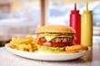 Fresh hamburger with french fries.