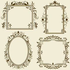 Set of vintage frames with floral ornament